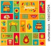 festa junina village festival... | Shutterstock .eps vector #436019524