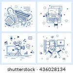 set of vector illustrations in... | Shutterstock .eps vector #436028134