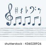 set of hand drawn vector music... | Shutterstock .eps vector #436028926