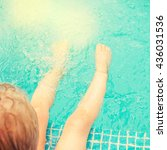 baby sitting near swimming pool. | Shutterstock . vector #436031536