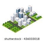 isometric perspective city with ... | Shutterstock .eps vector #436033018