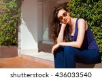a stylish brunette model girl... | Shutterstock . vector #436033540