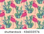 watercolor pink flamingos ... | Shutterstock . vector #436033576