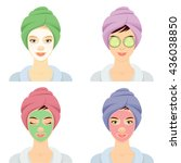set of 4 women with cosmetic... | Shutterstock .eps vector #436038850