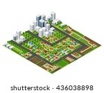 isometric perspective city with ... | Shutterstock .eps vector #436038898