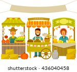 farmers selling their products... | Shutterstock . vector #436040458