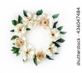 Floral Wreath Frame With White...