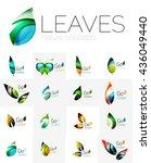 leaf logo set. vector... | Shutterstock .eps vector #436049440