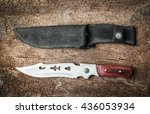 knife camping equipment on wood ... | Shutterstock . vector #436053934