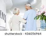 disabled senior woman looking... | Shutterstock . vector #436056964