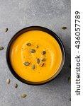 pumpkin cream soup with pumpkin ... | Shutterstock . vector #436057789