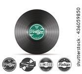 retro vinyl record badges and... | Shutterstock .eps vector #436059850