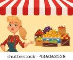 farm food market. woman farmer. ... | Shutterstock .eps vector #436063528