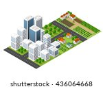 isometric perspective city with ... | Shutterstock .eps vector #436064668