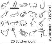 butcher and meat shop black... | Shutterstock .eps vector #436073464
