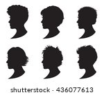 set of black silhouette girl... | Shutterstock .eps vector #436077613