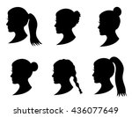 set of black silhouette girl... | Shutterstock .eps vector #436077649