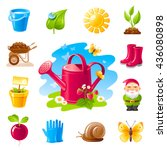 Nature Gardening Icon Set With...