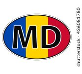 sticker on car  flag moldavia ...