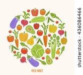 vegan diet and healthy food... | Shutterstock .eps vector #436086466