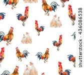watercolor chicken pattern... | Shutterstock . vector #436086538