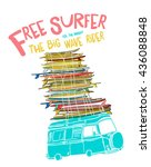 cartoon surf board with bus... | Shutterstock .eps vector #436088848