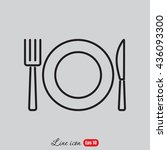 line icon  plate  knife and fork | Shutterstock .eps vector #436093300