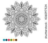 circle black and white mandala...   Shutterstock .eps vector #436097524