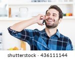 a man is talking on the phone... | Shutterstock . vector #436111144