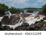 lee pee or lee phe waterfall in ... | Shutterstock . vector #436111249