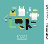 flat lay sport women clothes.... | Shutterstock .eps vector #436113526