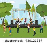 music concert in the park.... | Shutterstock .eps vector #436121389
