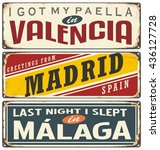 spain city signs. unique retro... | Shutterstock .eps vector #436127728