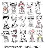 Stock vector vector illustration of cat set for greeting card design t shirt print inspiration poster 436127878