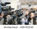 press conference cameras indoor | Shutterstock . vector #436152244