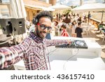 dj taking a selfie while mixing ... | Shutterstock . vector #436157410