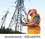 electrical engineer working.... | Shutterstock . vector #436168594
