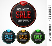 vector set of stickers on the... | Shutterstock .eps vector #436168834