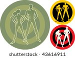 Fitness people. Vector illustration of two people posing. - stock vector