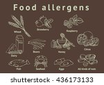 food allergens. outline on a... | Shutterstock .eps vector #436173133
