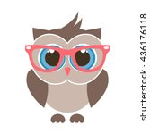 cute cartoon owl with glasses | Shutterstock .eps vector #436176118