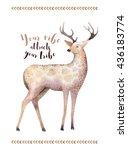 Watercolor Hand Drawn Deer...