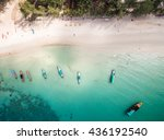 Aerial View Of Beach With Boat...