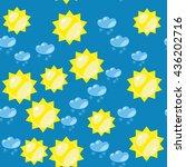 cartoon sun and snow seamless... | Shutterstock . vector #436202716