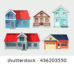 set of colorful cottage houses. ... | Shutterstock .eps vector #436203550