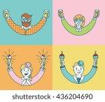 vector personages enjoying beer ... | Shutterstock .eps vector #436204690