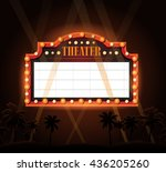 brightly vintage glowing retro... | Shutterstock . vector #436205260