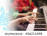playing the piano and sheet... | Shutterstock . vector #436211698