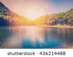 Pond Water And Sunrise With...