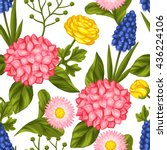 seamless pattern with garden... | Shutterstock .eps vector #436224106